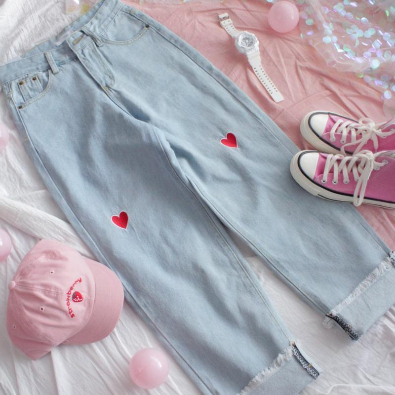 Women High Waist Wide Leg Jeans Pants Harajuku Cute Heart Embroidery Denim Pants Korean Style Autumn Femme Roll Up Loose Jeans