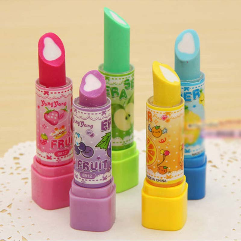 f42b5471dc81 ⑦JOUDOO Kawaii Fruit Print Lipstick Shape Eraser Erase Supplies ...