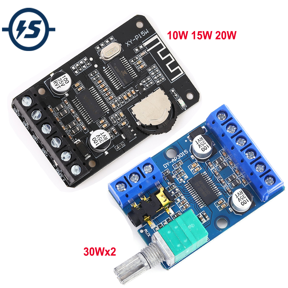 High-Power Stereo Digital Power Amplifier Board <font><b>12V</b></font> 24V 30W+30W 10W/15W/20W Power Supply DIY Module image