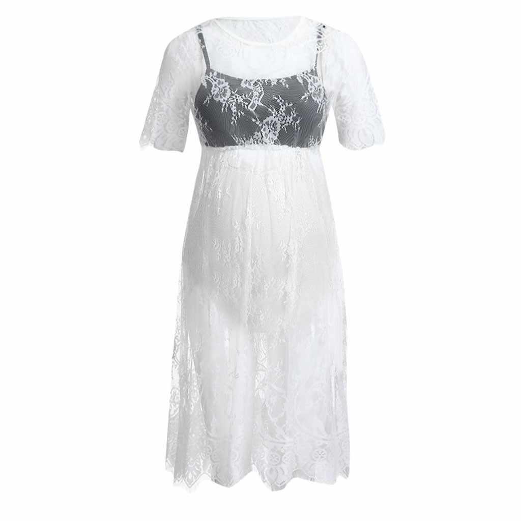 Vestidos de lactancia de maternidad para sesión fotográfica verano 2019 encaje Sexy embarazo vestido de lactancia ropa Casual para mujeres embarazadas