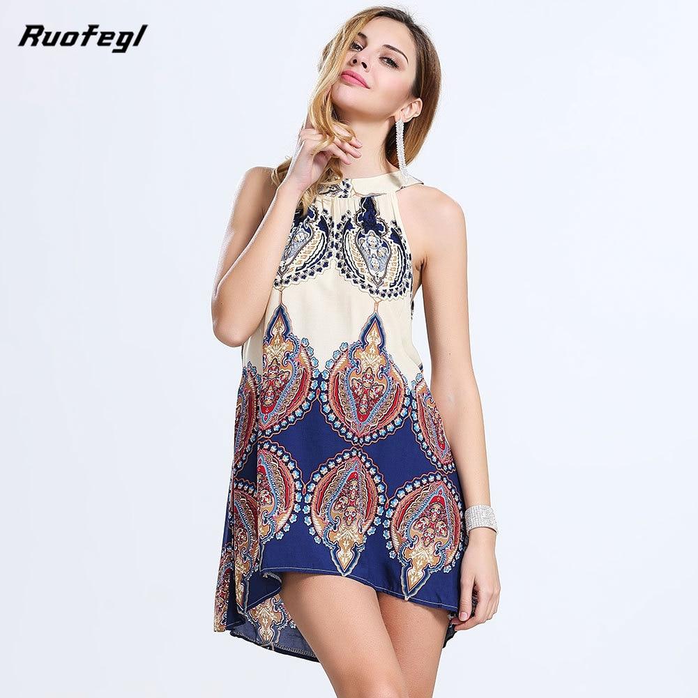 Ruofegl beach sexy summer imprimir mini dress hanging neck mujeres hombro boho v
