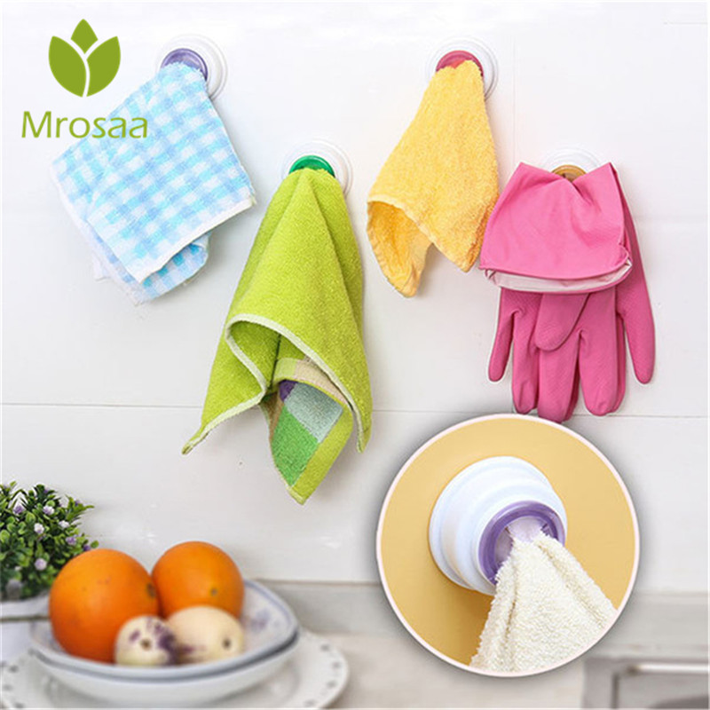 Mrosaa Sticky Washcloth Wall Clip Holder Dishclout Storage Rack Hooks Kitchen Bathroom Detachable Hand Towel Hanger