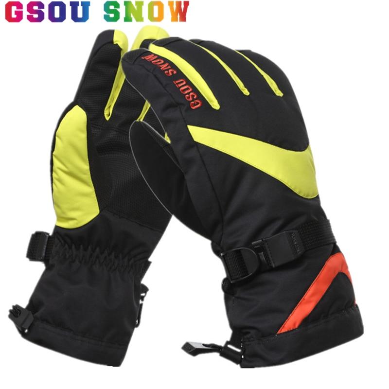 Prix pour Gsou Neige D'hiver Ski Gants Hommes Femmes Coloré Chaleur Camouflage Snowboard Gants-30 Degrés En Plein Air Étanche Gants De Neige 2017