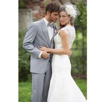 Men's Suits Light Grey 2 Button Notch Lapel Groomsmen Men Best Man Wedding Suit Bridegroom 3 pieces (jacket + pants + vest)