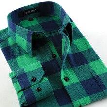 Men Flannel Plaid Shirt 100% Cotton 2017 Spring Autumn Casual Long Sleeve