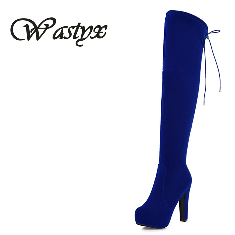 Wastyx 2017 New Women Suede Sexy Fashion Over the Knee Boots Sexy Thin High Heel Boots Platform Woman Shoes Black Blue new 2014 flock suede high heel women boots brand over knee high heel boots for women fashion designer women shoes