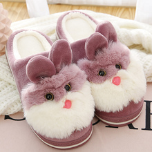 Women fur slippers Cute Rabbit House slipper Winter Keep Warm Indoor shoes for Girls Claquette fourrure