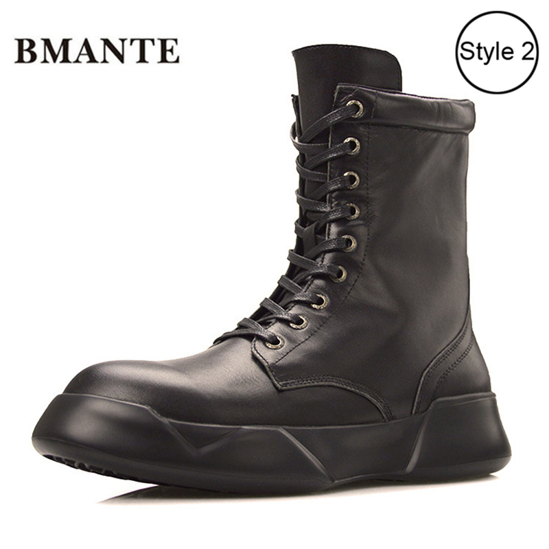 Real leather Designer bootie brand fashion male Casual Martin de shoe tall high top Thick sole tide Bieber martens boots for menReal leather Designer bootie brand fashion male Casual Martin de shoe tall high top Thick sole tide Bieber martens boots for men