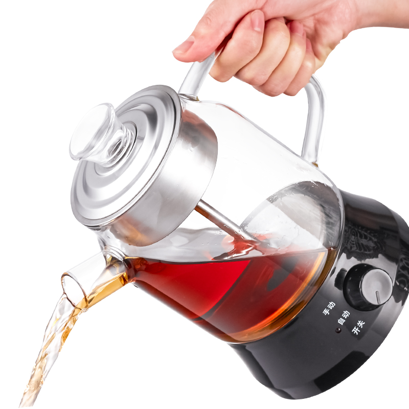 Brew tea ware black fully automatic glass boiled pot boiling pu 'er electric kettle Safety Auto-Off Function brew tea pot black electric pu er automatic glass raised teap