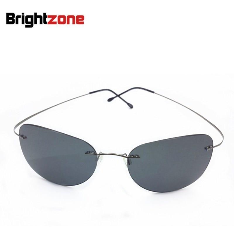 788dbe6cb3 2017 New Ultra-light Rimless Sunglasses Memory Pure Titanium Rim Polarized  Sunglasses Classic e Large Sun Glasses Eye Anti-UVA
