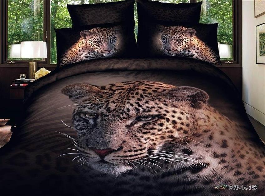 3d leopard animal print bedding set queen size duvet cover for Lit queen size taille