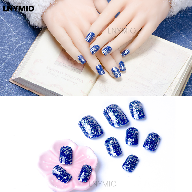 っ2017 shining fake nails silver powder nails blue and purple squre ...