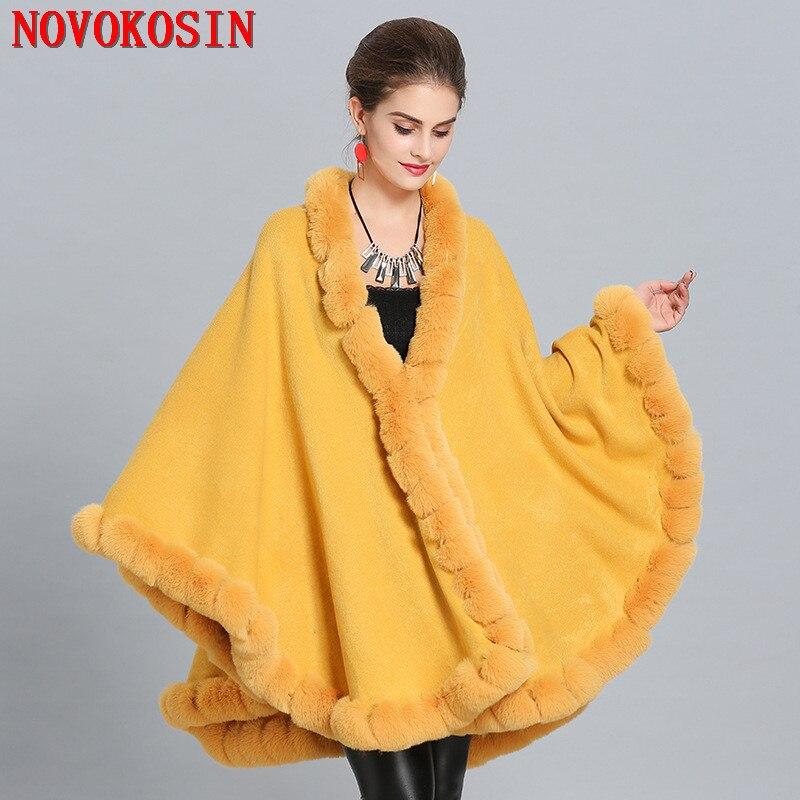 SC276 Winter Cloak Knitted Warm Thick Coat 2018 Plus Size Poncho Women Faux Fox Fur Collar Cape Big Pendulum Dovetail Cardigan