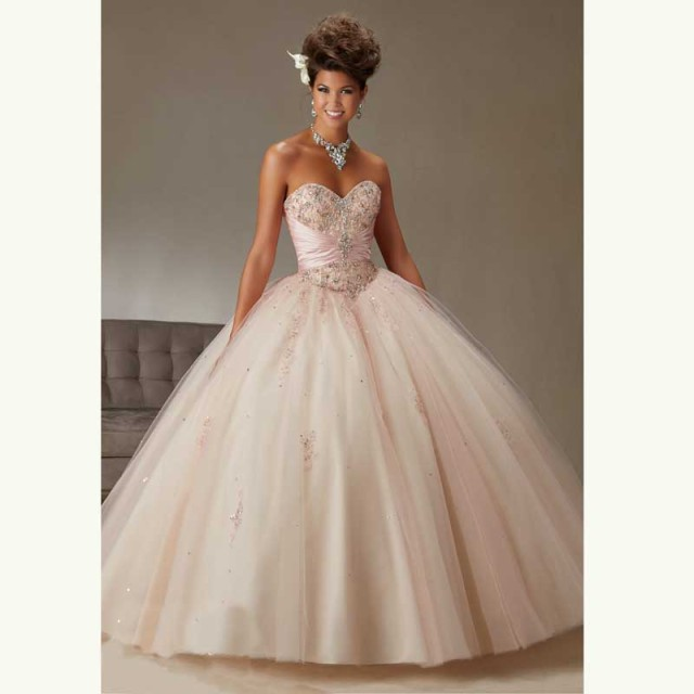 de57e6fb228 Pretty Light Pink Quinceanera Dresses with Sheer jacket beaded shiny  crystal sweetheart Lace up ball gown