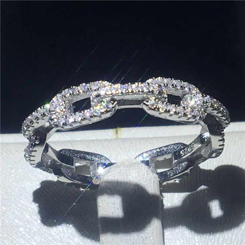 Choucong หรูหราเครื่องประดับสไตล์ 100% Real Soild 925 แหวนเงินแท้ AAAAA Zircon แหวนสำหรับผู้หญิงผู้ชายของขวัญ