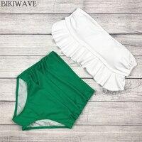 Aliexpress Hot Selling Detachable Strap Bikini Set Bright Color Padded Bra Swimsuit High Waist Women Bottom