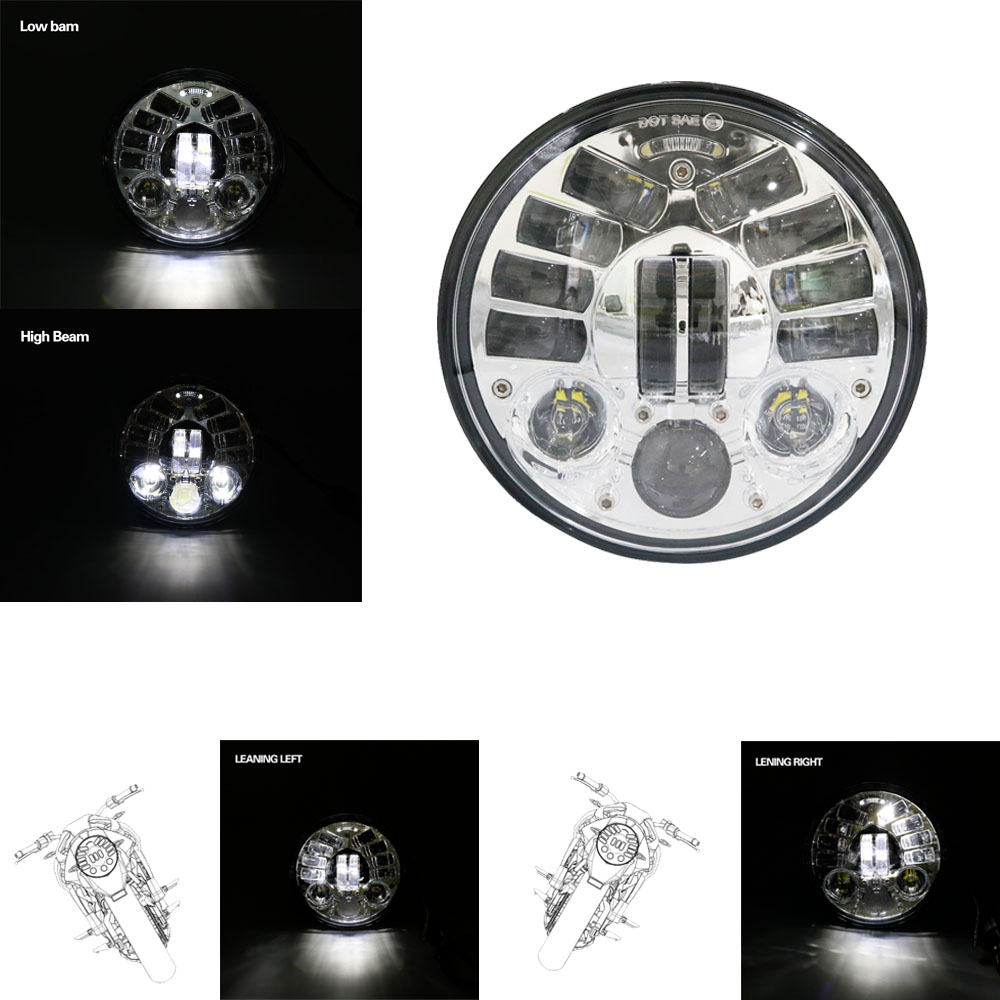 Moto vélo 5.75 Adaptative Dans Les Virages H4 phare 5 3/4 Daymaker LED Projection Phare pour Harley Sportster 883 XL dyna