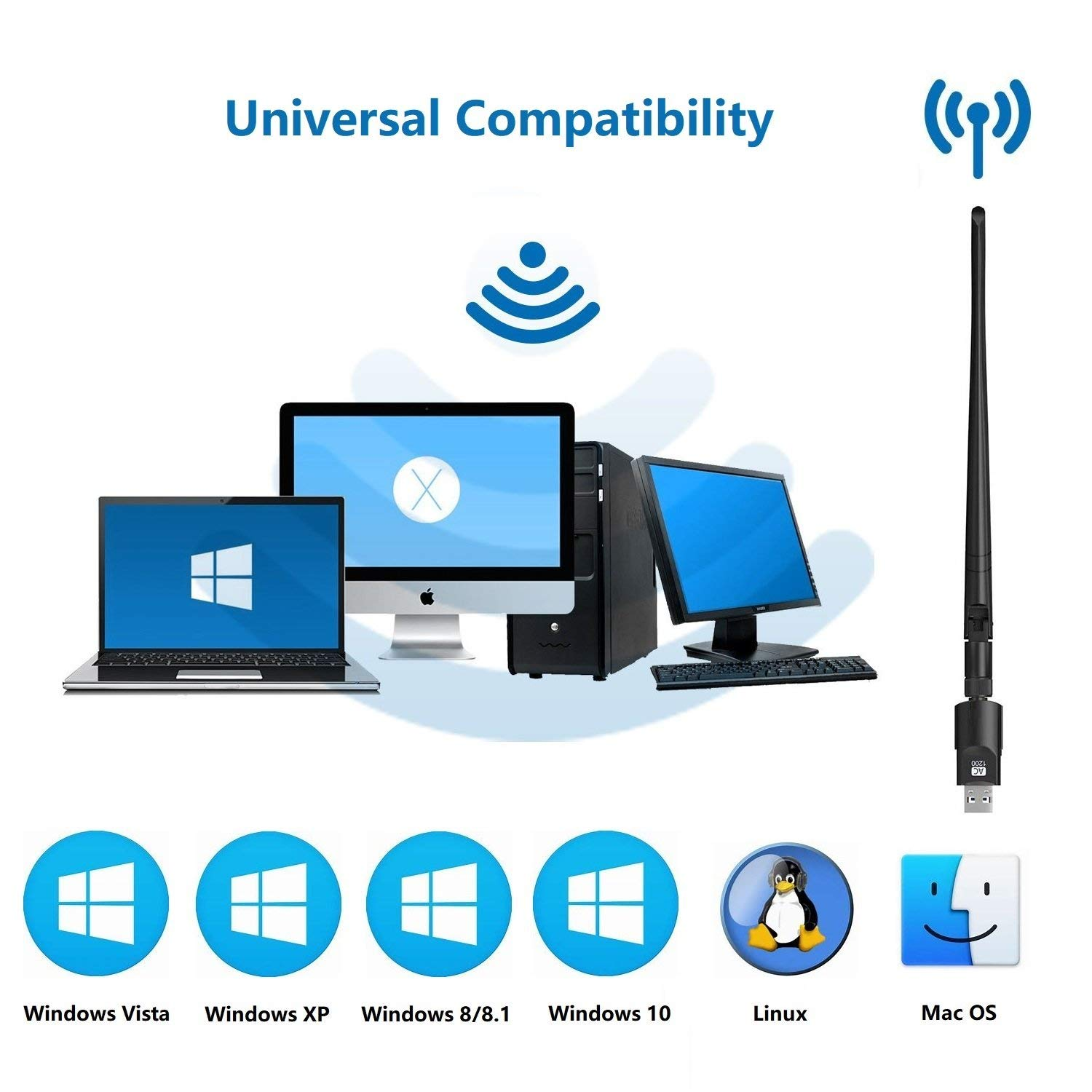 Support Windows Linux Mac OS Golvery WiFi Adapter 1200Mbps Gigabit USB WiFi Dongle Dual Band 2.4GHz+5GHz Ultra-Speed 802.11ac Network WiFi Dongle with 5dBi Antenna for Desktop PC Laptop