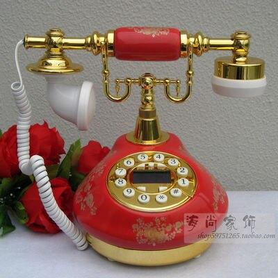 Свадьба красный Европейский Сад антикварная керамика ретро мода caller ID стационарный телефон