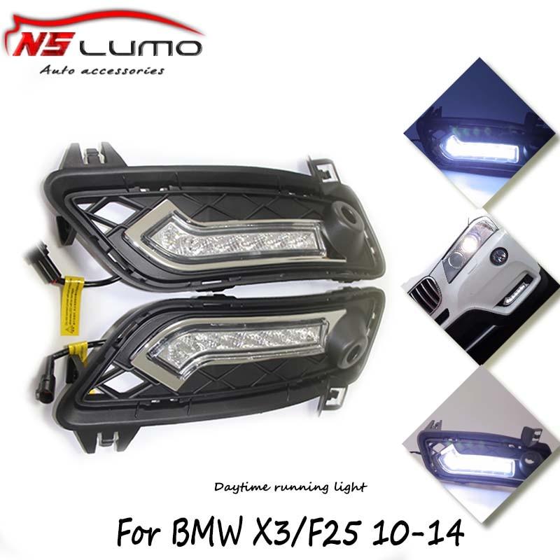 автомобиль источник света Сид DRL фары дневного света гибкие DRL для BMW Х3 f25 привод датчика 2010 - 2014 день время работает Лампа освещения