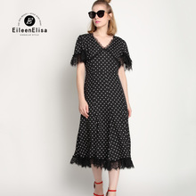 Summer Polka Dot Dresses 2017 Women Runway Long Dress