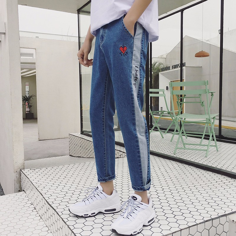 2018 New Mens Fashion Casual Blue Korean Embroidery Bound Feet Ankle-length Pants Trousers Stretch Slim Fit Jeans Homme Pants