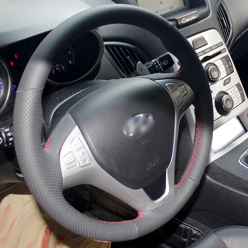 BANNIS Cuero artificial negro DIY cosido a mano cubierta del volante - Accesorios de interior de coche