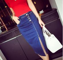 New Long Section Denim Skirt Single Row Buckle Cow