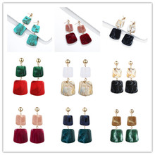 New Design ZA Bohemian Square Geometric Earrings Colorful Drop For Women Statement Jewelry Unique Brinco