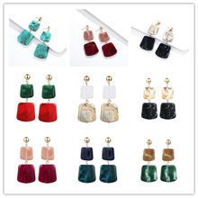 New Design ZA Bohemian Square Geometric Earrings Colorful Drop Earrings For Women Statement Jewelry Statement Unique Brinco(China)