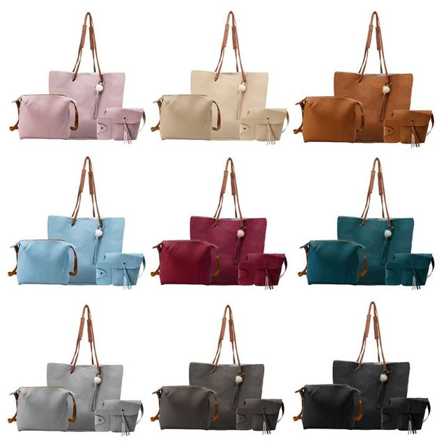 ced0158a8d2c 4pcs Women Lady Leather Handbag Shoulder Bags Tote Purse Messenger Satchel  Set