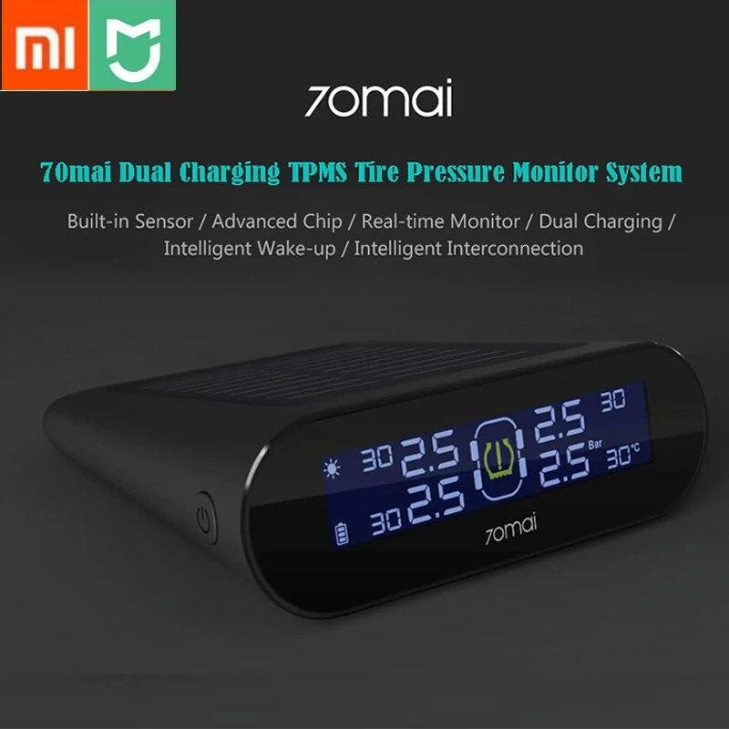 Xiaomi 70mai TPMS Tire Pressure Tester Monitor Solar Power Dual USB Charging 4 Built in Sensors