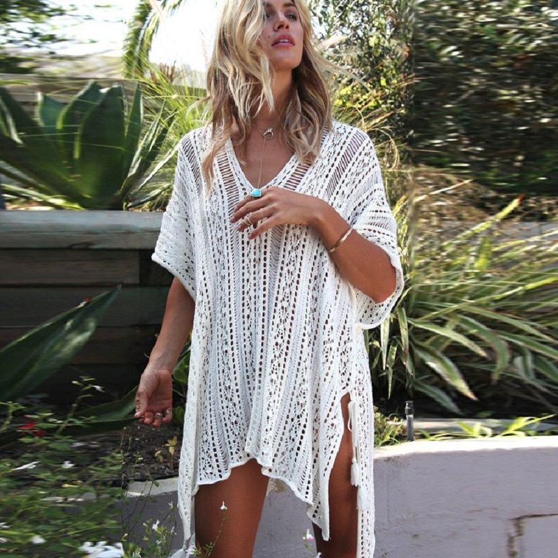 Femmes de Maillots De Bain Tricoté Crochet Tunique Cover up Robe De Plage