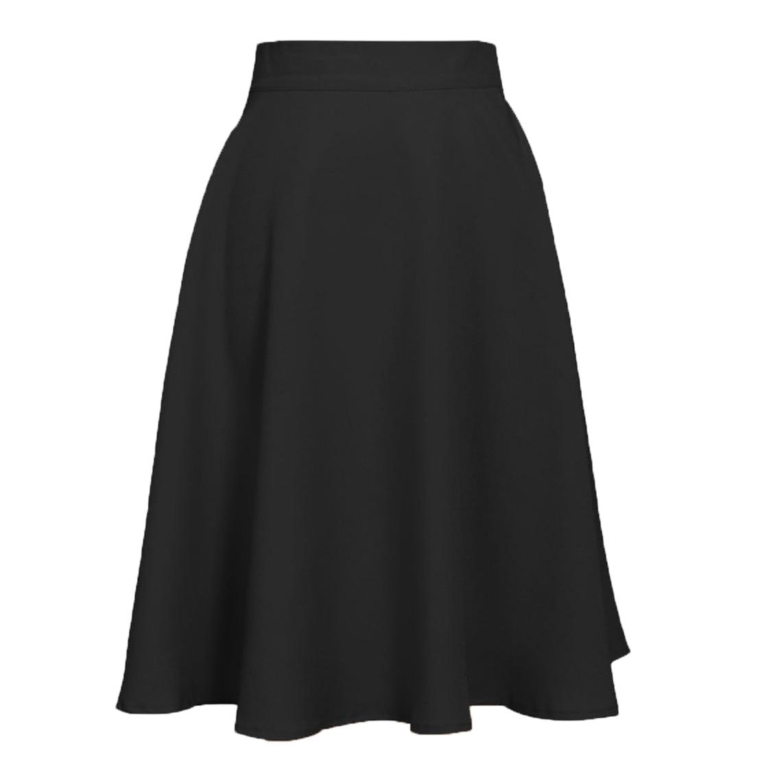 Ladies Knee Length Hidden Back Zipper Casual Full Skirt
