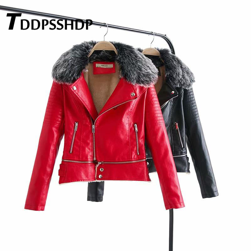 Lady Autumn Winter Basic   Leather   Coat Black Red Long Sleeve Zipper Motorcycle PU Jacket