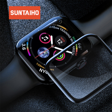Suntaiho 4D Full gel glass film for Apple Watch 44 /42/40/38 mm Cove Screen Protector Series watch 4/3/2 Film