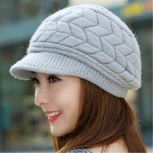 winter hat for women knitted wool hats inside knitted hats for women rabbit fur hat Autumn and Winter fashion women hat new