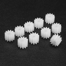 цена на Uxcell 10Pcs 9/11 Teeth 092/112A Plastic Shaft Gear 2mm Hole Diameter 5 x 5.5/5 x 6.5mm Toy Accessories for DIY Car Robot Motor