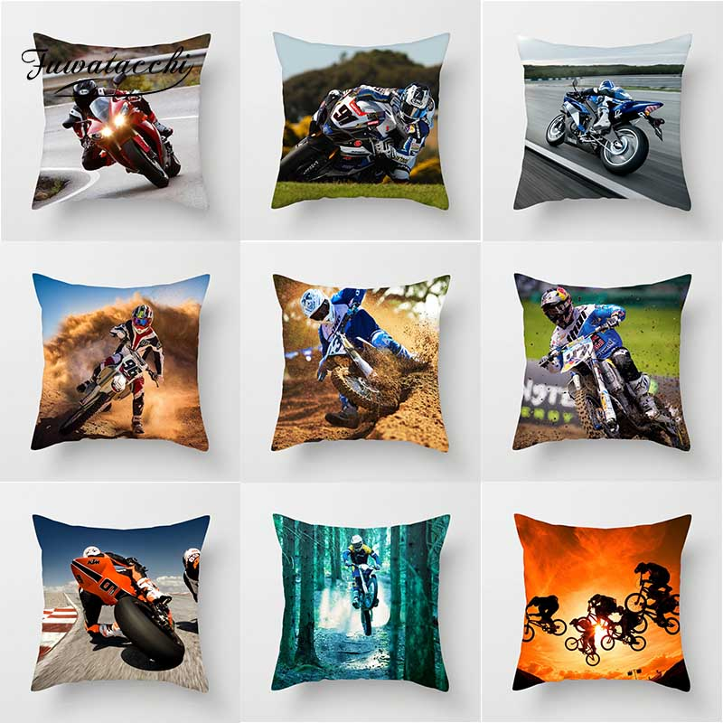 Fuwatacchi Motorcycle Sports Pillows Cover Cross country Polyester Cushion Cover Home Decorative Pillowcase for Decor Chair sofa in Cushion Cover from Home Garden