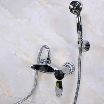 Modern Wall Mount Polished Chrome Brass Bathroom Clawfoot Hand Shower Faucet Mixer Tap Set Telephone Shape Hand Spray ana274