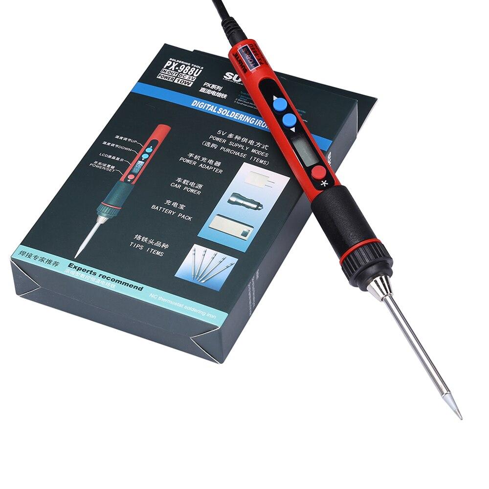 Portable Digital LCD USB Soldering Iron 5V 10W Adjustable Temperature Soldeerbout Soldering Tools Welding Iron Solder