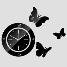 2016 new living room quartz acrylic home decoration 3d mirror wall clock modern diy digital watch sticker cart watch