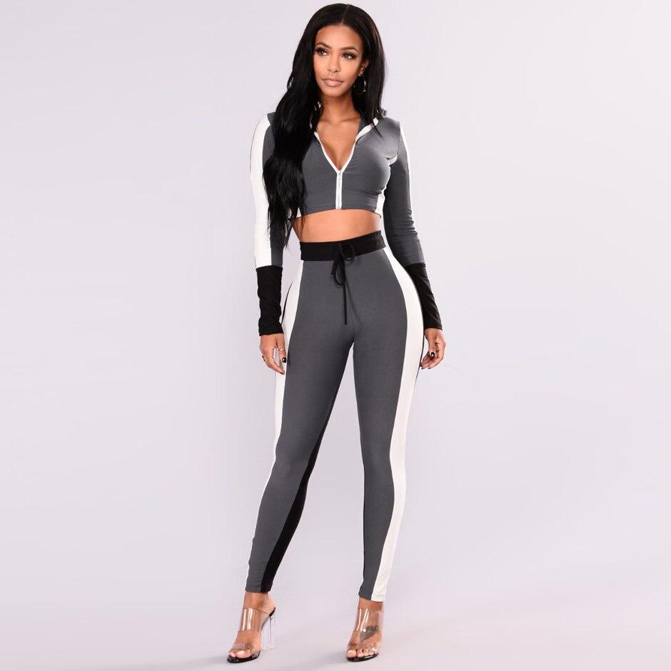 Women 2 Piece Pants Sets 2018 Casual Two Piece Tracksuit Zipper Crop Top Set Bodycon Track Suit