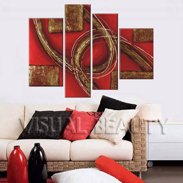 4 Pieces Special Style Abstract Oil Painting on Canvas(Unframed)