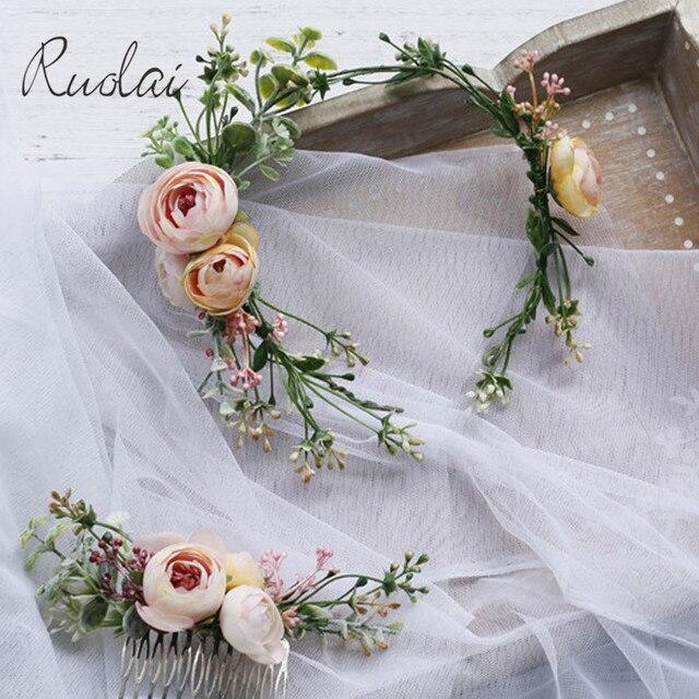 خمر الزفاف العصابة زهرة الزفاف الشعر مشط بوهيميا مجوهرات الزفاف اليدوية خصلات شعر للنساء زهرة أغطية الرأس HD26