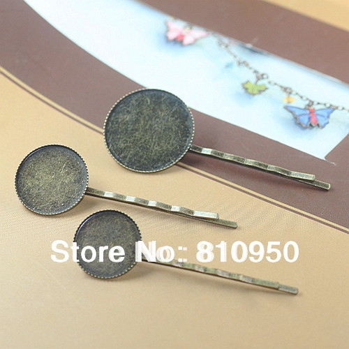 Free Shipping 100pcs Lot Copper Antique Bronze 18MM Cameo Base Hair Pin Clips With Pad Jewelry