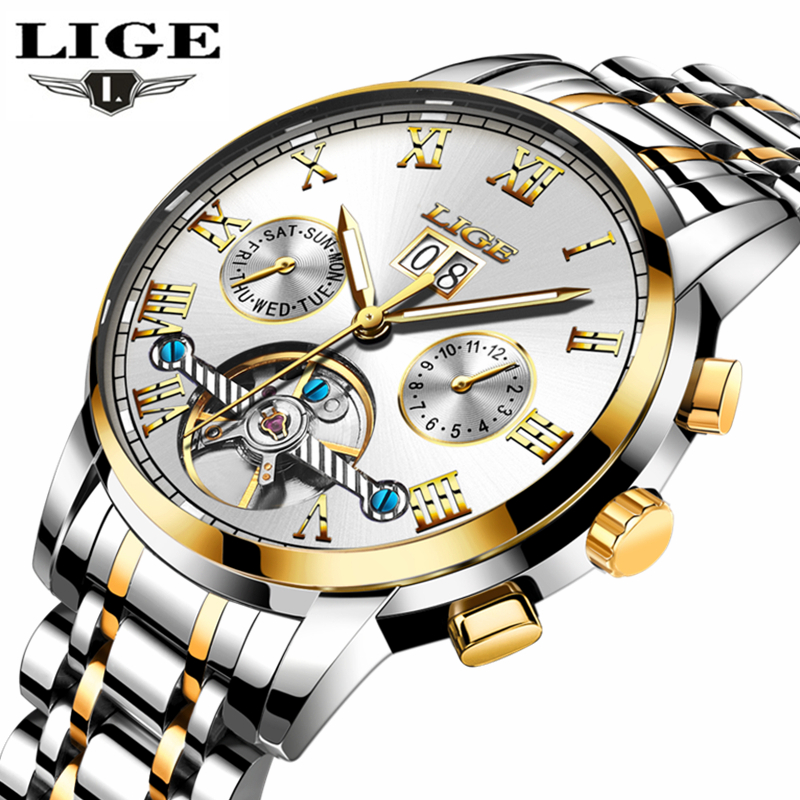 LIGE Top Brand Luxury Automatic Mechanical Watch Men Fashion Casual Gold Full Steel Waterproof Sports Watches Relogio Masculino men watches lige top brand luxury men s sports waterproof mechanical watch man full steel military automatic wrist watch relojes