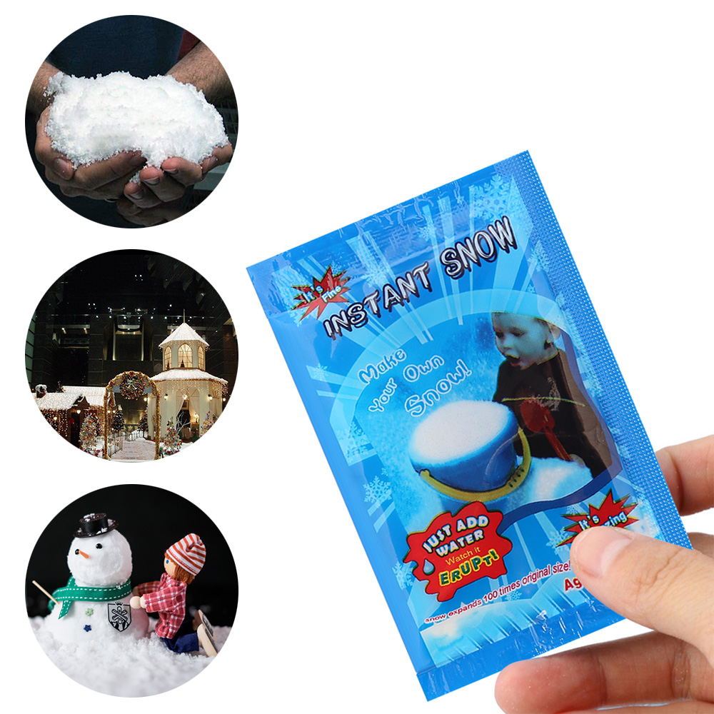 1 Pack HOT Sale Artificial Snow Magic Instant Snow Fluffy Snowflake Super Absorbant 2018 Christmas Wedding Decorations