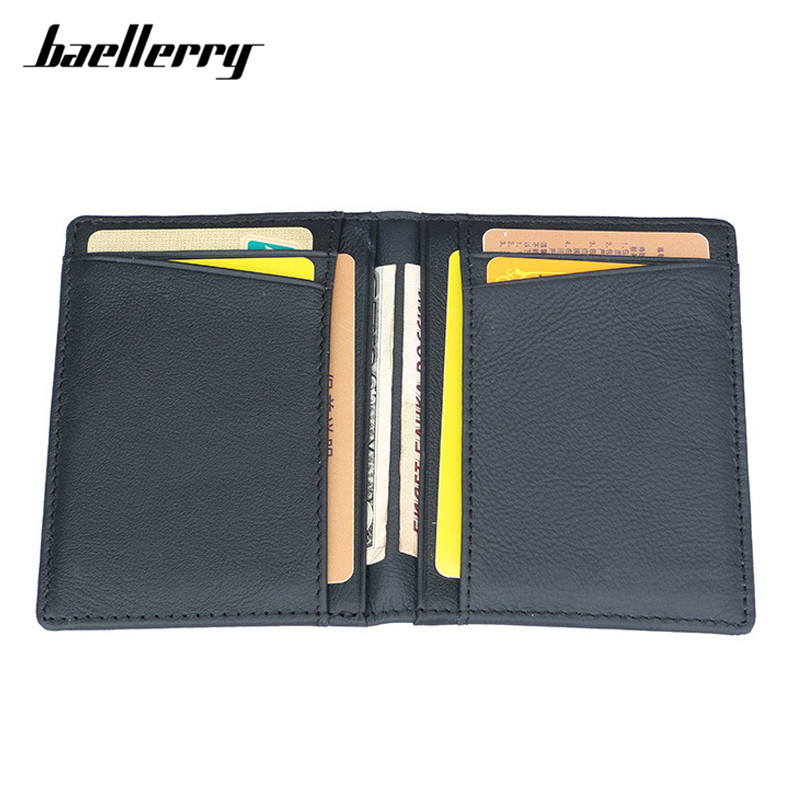 Baellerry Brand 100% Cow Genuine Leather Small Card Wallet Men Solid Casual ID Card Case Purse Male Credit Card Holder
