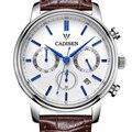 Cadisen Роскошные Часы Мужчины 6 Указатель Авто Дата Натуральная Кожа Кварцевые Часы 30 М Водонепроницаемые Часы Мужчины Reloj Hombre Белый Циферблат